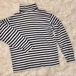 Vintage J Crew Stripe Turtleneck Shirt Green Label